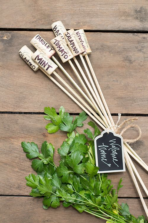 DIY herb markers cork