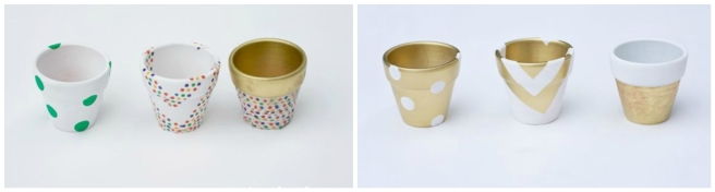 gold patterned pots