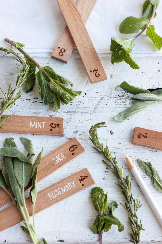 DIY herb markers cedar stakes