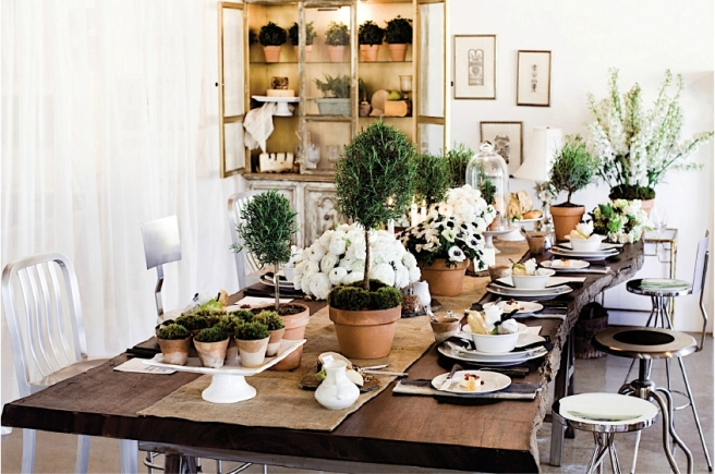 How to Make a Rosemary Topiary tablescape