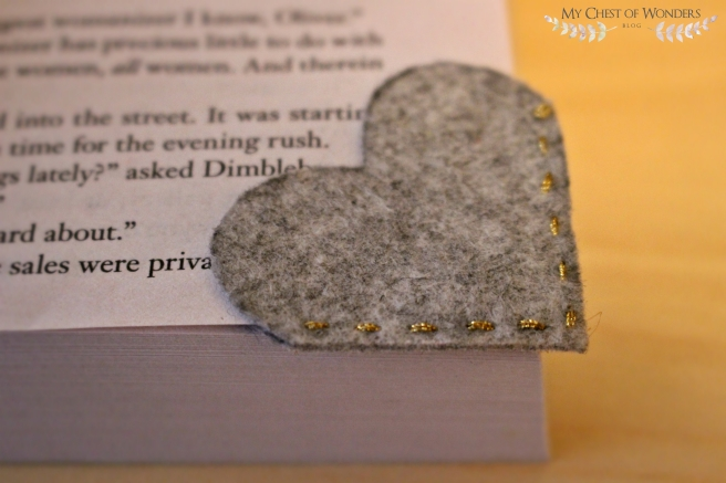 DIY Felted Bookmark on bookpage