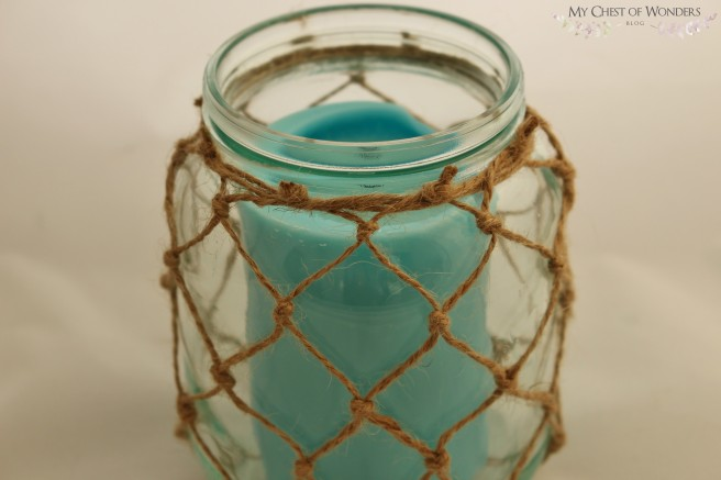 knotted macrame jar lantern with candle