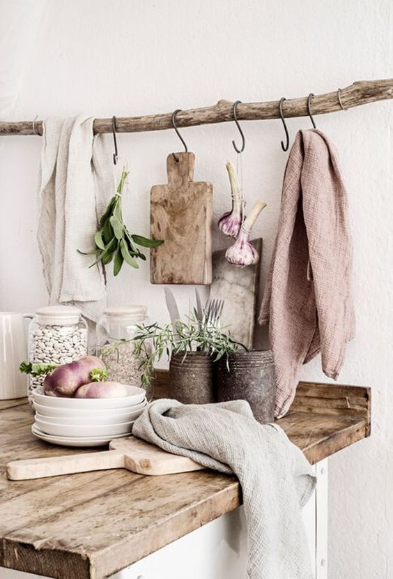 rustic natural and blush kitchen