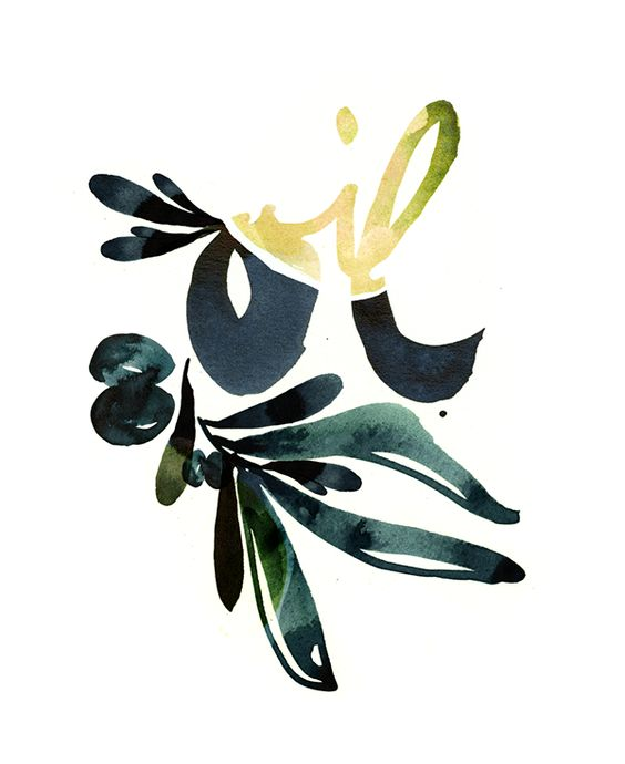 olive oil watercolor artprint