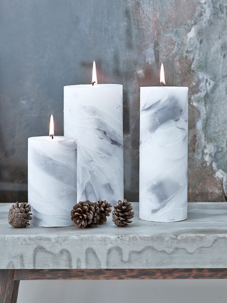 marbled pillar candles