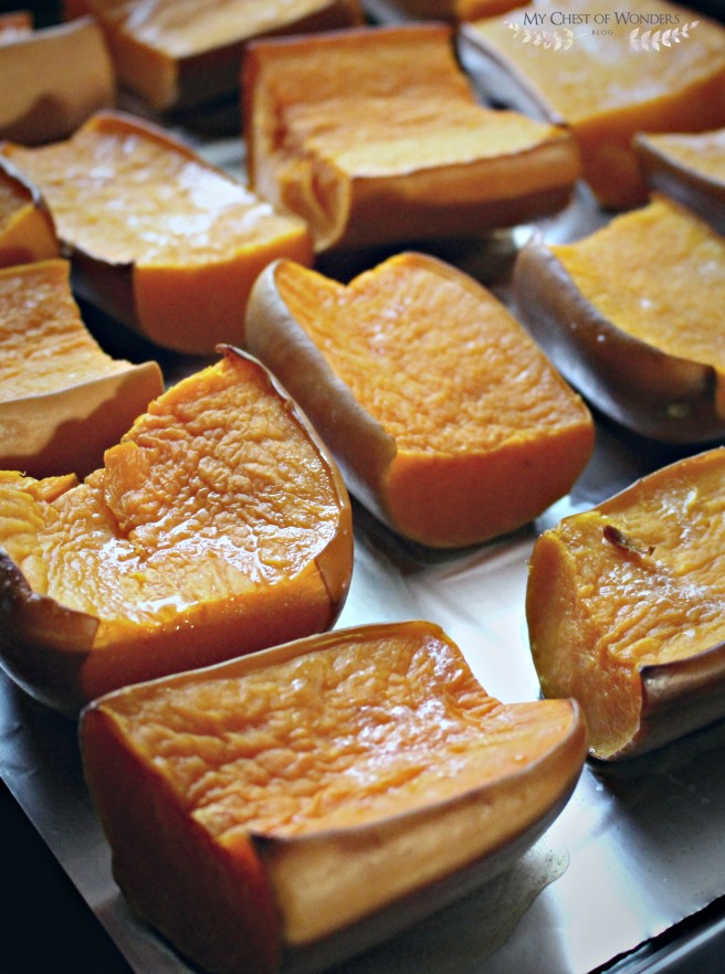 baked pumpkin chunks
