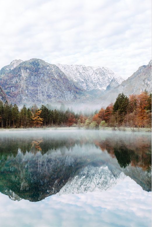 autumn mountains and lake