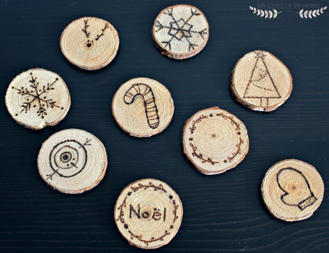 festive wood slices