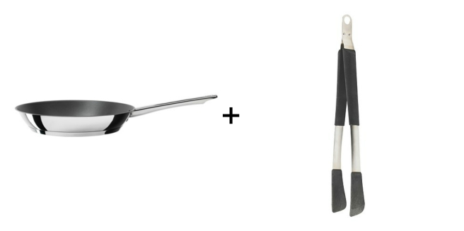 ikea frying pan and tongs