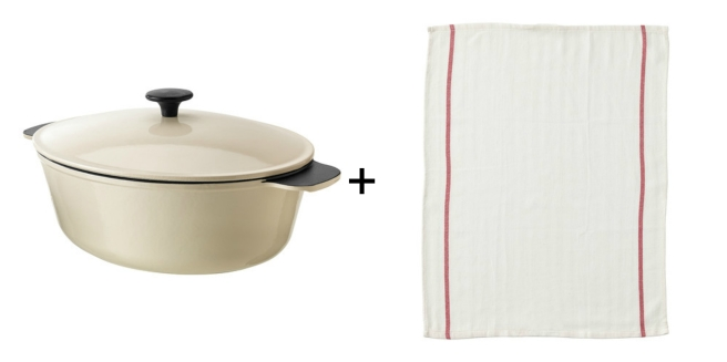 ikea cast iron dish and kitchen towel