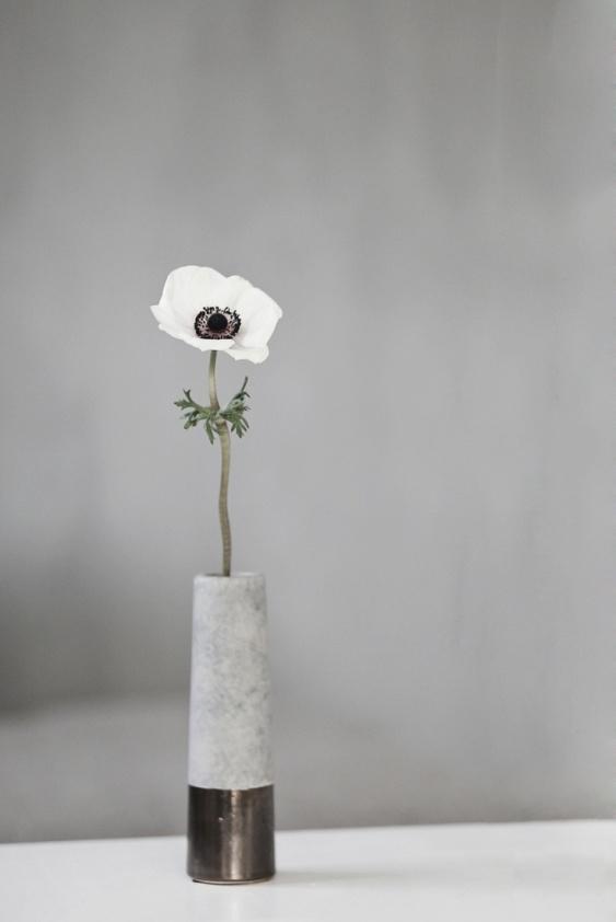 concrete vase with flower