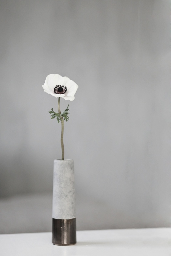 concrete vase with flower