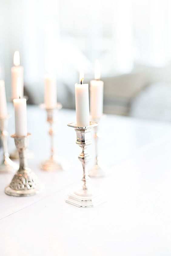 silver candleholders