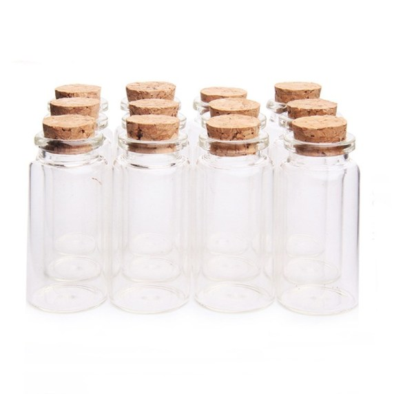 glass vials with cork