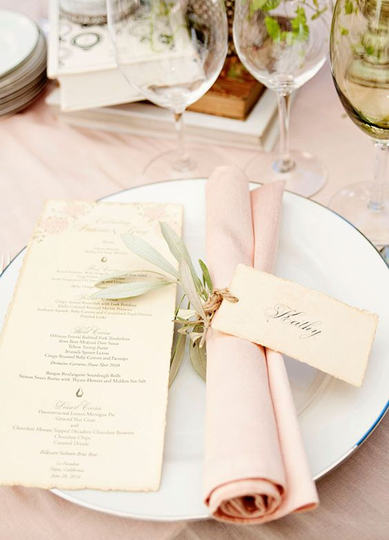 blush napkin tablescape