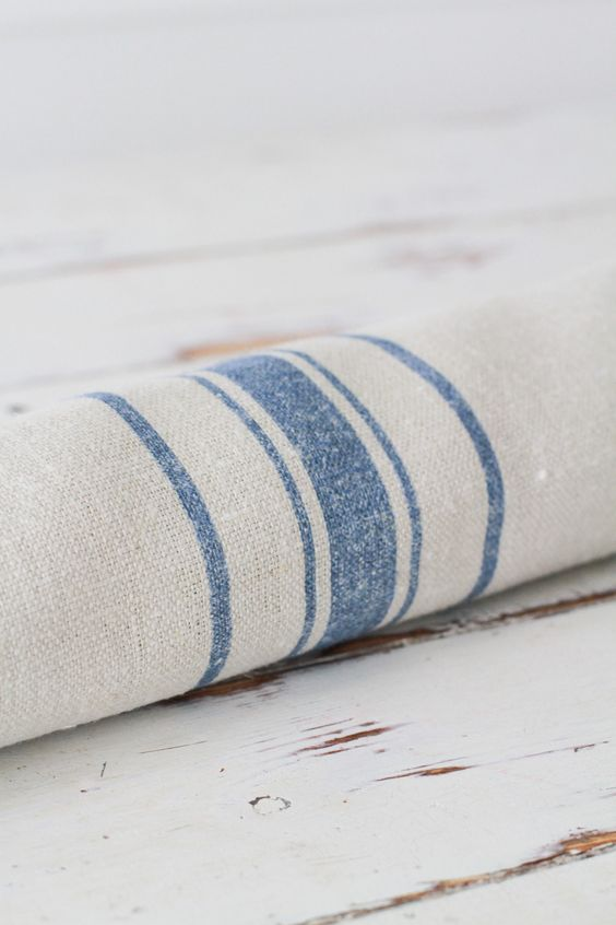 linen with blue stripes