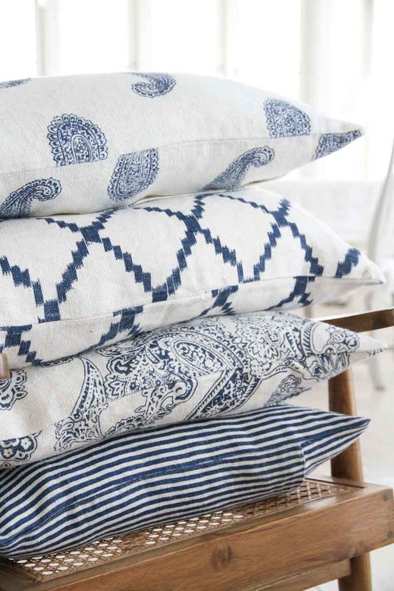 blue printed pillowcases