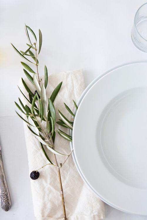 olive branch on napkin