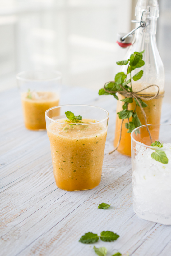 cantaloupe lime mint slushy