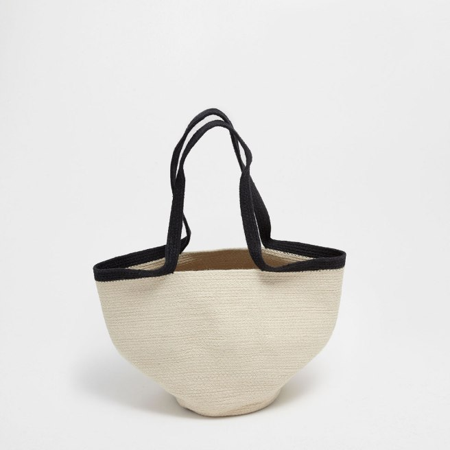 zara home basket with handles and zigzag design