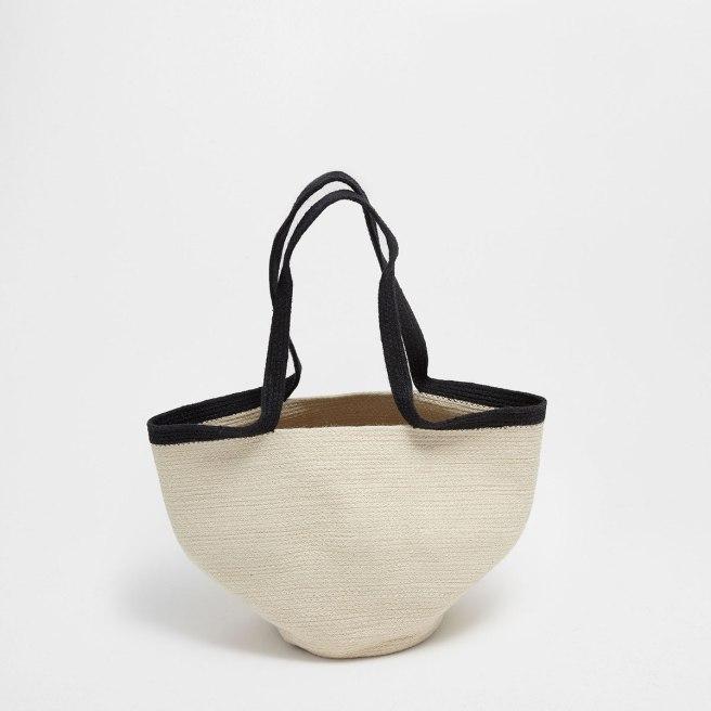 zara home basket with handles and zigzag design