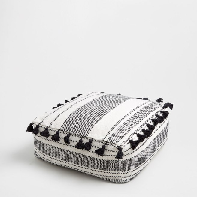 zara home striped pouff with pompoms