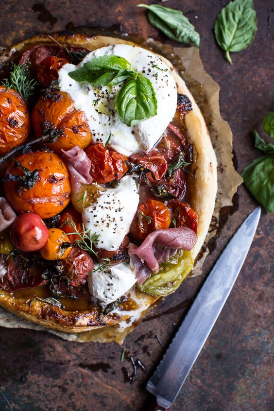 tomato fig burrata tart
