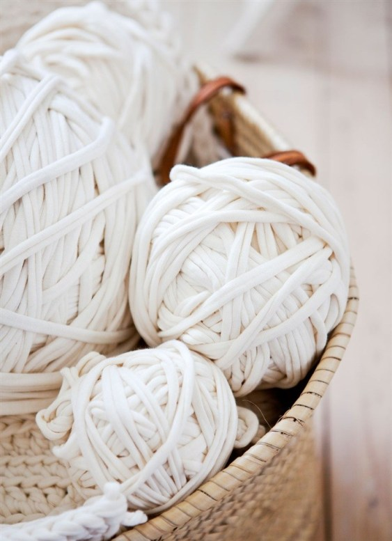 white yarn in basket