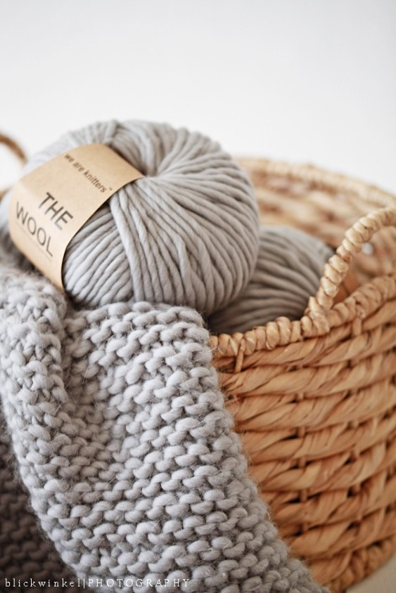 wool yarn in basket