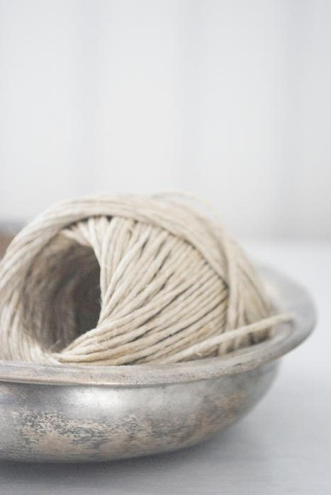 twine in silver bowl