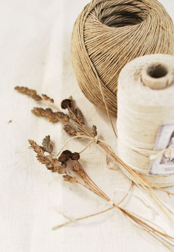 twine and dried flowers