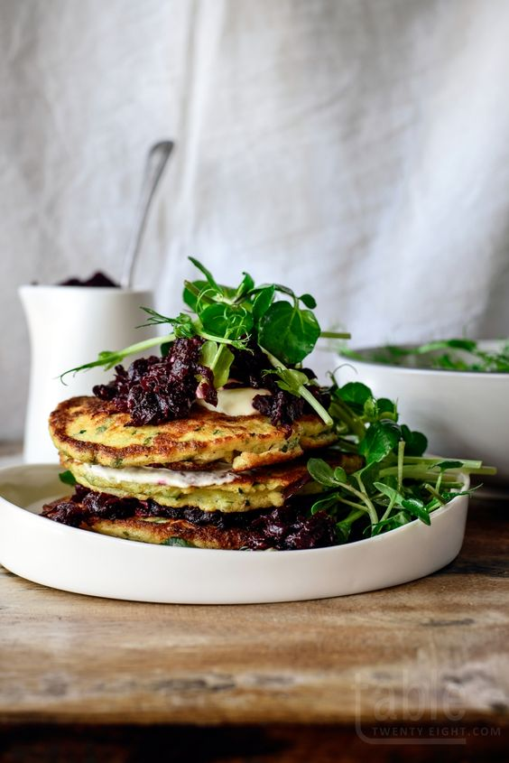 fritters with beet relish