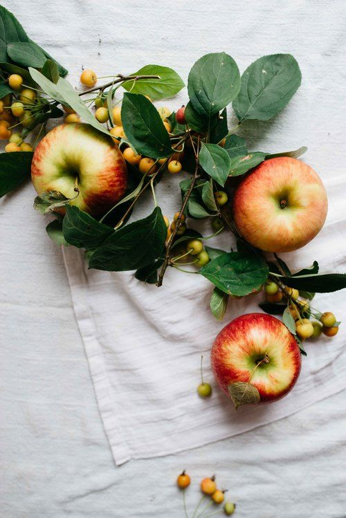 apples on linen
