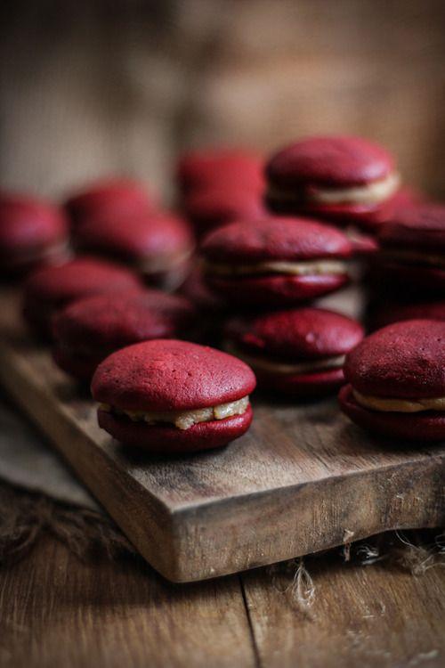 burgundy macarons