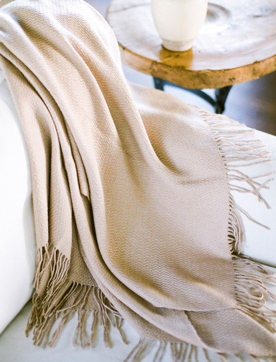 beige throw