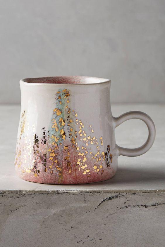 anthrolpologie gold accent mug