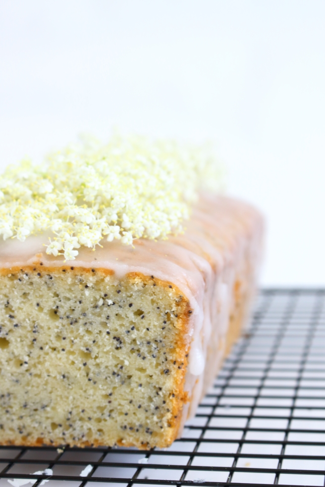 lemon poppy seed bread with elderflower glaze